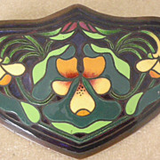 REDUCED PRICE REDUCED!!! Magnificent Art Nouveau Large Enamel Sash Pin On Copper