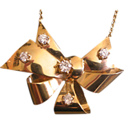 REDUCED Elegant 1940s Retro Necklace 14K Yellow Gold with diamonds Diamonds Bow Shape PRICE RE