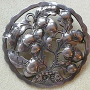 REDUCED PRICE REDUCED Early 1900s KALO Pin Brooch Sterling Silver Hand Wrought Design Oak & Ac