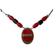 Superior Art Deco Era Necklace Red and Black Galalith, Chrome Attributed to Jakob Bengel, Germ