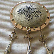 Remarkable Victorian Pin Textured 14K Yellow Gold, Black Enamel Design, Three Dangles PRICE RE