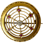 Lacy Edwardian Pin Diamond & Rubies in 14 yellow Gold European Made