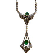 Superb Edwardian Pendent Necklace 14K Gold, Emeralds + Diamonds with Professional Appraisal