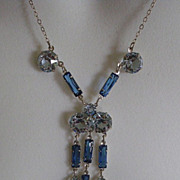 SOLD 40% OFF SALE Art  Deco Sterling Silver Pendent Necklace Faux Sapphires & Clear Crysta