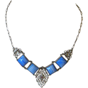 PRICE REDUCED! Art Deco Necklace Silver Filigree with Bright  Blue Art Glass Squares