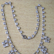 REDUCED REDUCED PRICE Art Deco Necklace with Clear Crystals in Sterling Silver Dangles Front