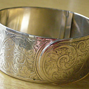 REDUCED Charles Horner England Hinged Bangle Bracelet Sterling Silver Hallmarked, 1935 Buckle