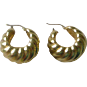 Contemporary 18K Yellow Gold Wide Hoop Earrings