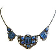 Deco Czech Necklace Blue Wavy Cloud Glass, Gold Tone Filigree, Faux Pearls