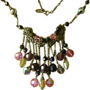 REDUCED Vintage Miriam Haskell Necklace Aurora Borealis Beads & Dangles REDUCED!!