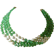 Mid Century Miriam Haskell Necklace, Faux Emerald & Faux Pearl Beads