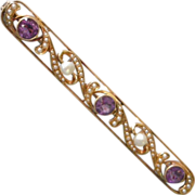Classic Victorian Pin 14K Yellow Gold Bar Shape with Amethysts, Seed Pearls, Baroque Pearls