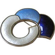 Abstract Shape Pin Blue + White Enamel on Sterling Silver by J. Tostrup Norway