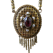 Victorian 14K Gold with Garnet and Pearls Ornate Pendent Necklace with Bottom Fringe