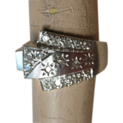 REDUCED Stunning Mid-Century Ring 14K White Gold & Diamonds Buckle Design PRICE REDUCED