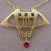 Victorian Era Pendent Necklace 14K Yellow Gold + Rubies Arts and Crafts Design