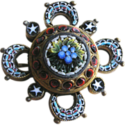 REDUCED PRICE REDUCTION!  Victorian Micro Mosaic Pin Brooch Round with Deep Scalloped Border