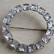 REDUCED PRICE REDUCED Open Circle Deco Bright Square Cut Clear Crystals, Silver Tone