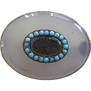 Victorian Second Mourning Pin 10K Translucent Glass Surrounded by Turquoise Compartment for Im