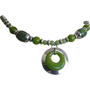 Art Deco Necklace Green Bakelite and Chrome Circle Dangle in Center