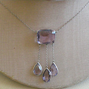 REDUCED Splendid Edwardian Era Sterling Silver Necklace with Three Amethyst Dangles PRICE REDU
