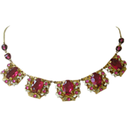 REDUCED PRICE REDUCED Czechoslovakia Necklace Large Rosy Red Faux Rubies, Enamel set in Brass