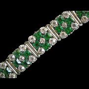 REDUCED Vintage Sparkle! Wide Link Bracelet Vivid Faux Emeralds, Clear Crystals
