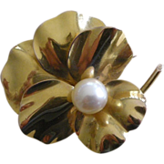 REDUCED REDUCED!! RARE Victorian Pansy Pin Brooch 18K YELLOW Gold, 9.3 mm Cultured Pearl Cente