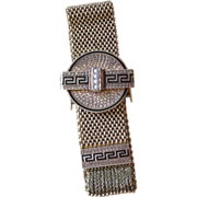 REDUCED Exceptional Victorian 18K Yellow Gold Mesh + Black Enamel Slide Bracelet