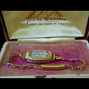 Deco Era Ladies Wrist Watch Gold Tone 17 Jewel Swiss Made Original Box