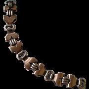 Art Deco Sterling Silver Bracelet by Kreisler Gold Washed and Silver Links Geometric design