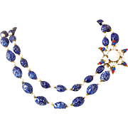 Exceptional Miriam Haskell Blue and White Glass Bead Necklace with Star Clasp Mid-Century ...