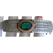 Silver Tone Filigree Hinged Bangle Faux Emerald, Black and Orange Enamel Front Very Collectibl