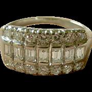 Top Quality Vintage Mid-Century Ladies Platinum and Round + Emerald Cut Diamonds Band Ring