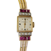 Fine Retro 1940s Tiffany & Co. Ladies Watch Yellow Gold, Diamonds and Rubies