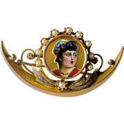 Unique Victorian Applied Enamel Cameo with Seed Pearls, Half Moon Base