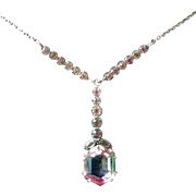 Art Deco Pendent Necklace Watermelon Variegated Crystals Silver Tone Chain