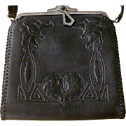 RARE BLACK Arts & Crafts 1920s Embossed Turn Lock Leather Bag Purse Handbag