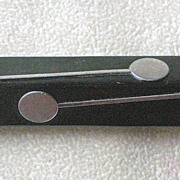 """REDUCED PRICE REDUCED Deco Black Bakelite Pin with Chrome """"Lollipop"""" Insets BOOK PIE"""