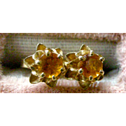 SOLD Vintage Stud Earrings Round Citrine Prong Set in Flower Setting 14K Yellow Gold