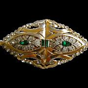 REDUCED Coro Duette Pin Dress Clips Combination Faux Emeralds & Diamonds Pat. Date 1930