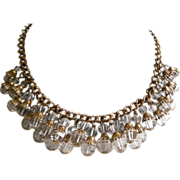 Superb Deco Necklace Rich Sparkly Faceted Crystal Dangles Collar