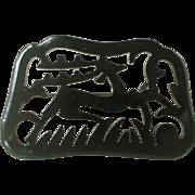 Outstanding Deco Black Bakelite Pin Deer Running Cut-Out Design