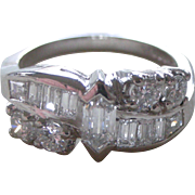 Gorgeous Vintage Diamonds Set in Platinum Band Ring Fancy Cut Diamond Center