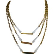 Miriam Haskell Necklace Mid-Century Brass Chains and White Beads