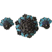 Spectacular Vintage Pin and Earrings Set Turquoise and Royal Blue Enamel, Ornate Silver Design