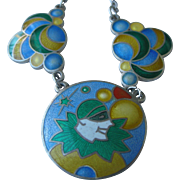 Art Deco Necklace Blue Enamel Harlequin on Sterling Silver with Bubbles