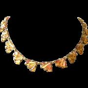 Fine Deco Golden Mirror Glass Fan Link Necklace Great Sparkle
