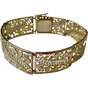 Outstanding Lacy Design Vintage Bracelet Gold Wash on Sterling Silver Made in Germany