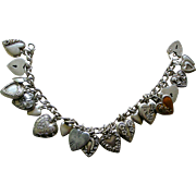 REDUCED PRICE REDUCED Victorian 20  Puffy Heart Charms Bracelet All Sterling Silver